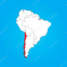 map of south america with a selected country of chile stock
