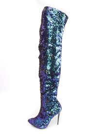 Firefighter Three Boots by Green Hologram Thigh High Single Sole High Heel Boots Sequin
