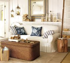 Pine Living Room Furniture Coastal Beach Style Living Room Furniture With White Leather Sofa