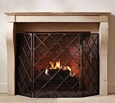 lattice fireplace screen pottery barn
