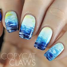 easy poolocean water nail art youtube literary lacquers ocean