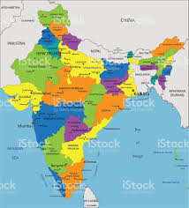 Asia Map Labeled by Colorful India Political Map With Clearly Labeled Layers Stock