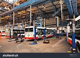 garage workshops prague september 17 maintenance buses workshop stock photo