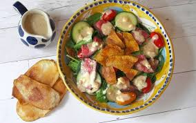 warm steak and potato chip salad