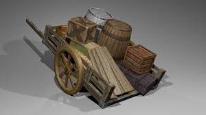 wooden cart 3d model in buildings 3dexport