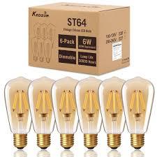 dimmable edison led bulb kedsum 6w st64 warm 2200k amber glow