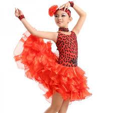 red leopard fringe shiny paillette latin dance dress salsa