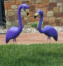 flamingo lawn ornament in purple