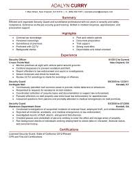 Sample Resume Security Guard by Sweet Sample Resume For Security Officer Interesting Resume Cv