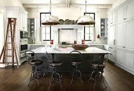 ilot cuisine blanc cuisine ilot central blanc tabouret noir design moderne bois idee