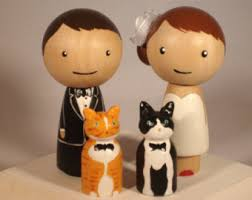 cat wedding cake topper custom wedding cake toppers cake by ittybittywoodshoppe
