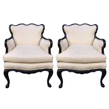 linen chairs pair of antique style lounge chairs in linen for sale at