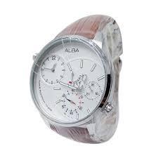 Jam Tangan Alba Analog harga alba analog tali kulit jam tangan pria 161240 silver coklat