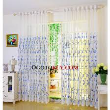 Embroidered Linen Curtains Eco Friendly Linen Cotton Sheer Curtain Embroidered With Exquisite