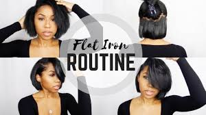 utube bump hair in a bob flat iron routine short bob youtube