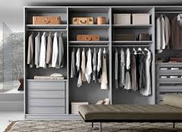 walk in wardrobe in light grey oak made in italy by presotto