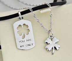 his and hers dog tags his and four leaf clover necklaces set with puzzle dog
