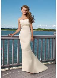 elegant satin strapless mermaid style beach wedding dress ipunya