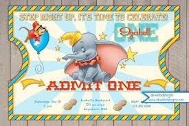 circus ticket style birthday invitations dumbo invitation