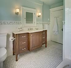marble basketweave floor tile powder room traditional with