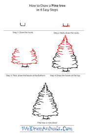 how to draw a pine tree