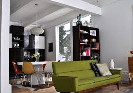 Bright Green Sofa Dining Room Cozy Living Room With Mid Century Modern Color