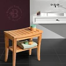 Wooden Shower Bench Bath Seat Caddies Storage Shelf Home Spa - Home spa furniture