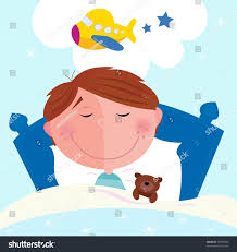 small boy sleeping bed dreaming about stock vector 53410006