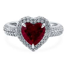 heart ring sterling silver heart shaped simulated ruby cubic zirconia cz halo