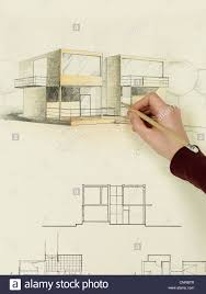 floor plan with perspective house woman u0027s hand drawing architectural perspective of modern house
