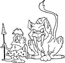 coloriage tigre à dents de sabre et homme préhistorique
