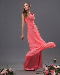 bowtie chiffon one shoulder floor length bridesmaid