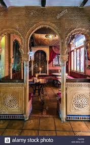 interior of a moroccan style teteria or teahouse in the albayzin