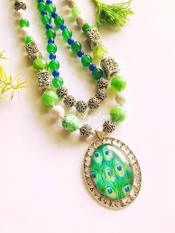 pendant necklace online images Peacock green pendant necklace green necklace earrings set online jpg