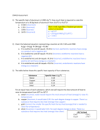 Specific Heat Table Cm4l9 Assessment 1 The Specific Heat Of Aluminum Is 0 900 J G