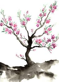 watercolor painting tree cherry blossom nature sumi e