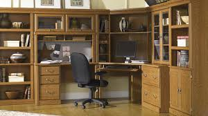 Sauder Orchard Hills Computer Desk With Hutch Carolina Oak by Sauder Orchard Hills 3 Pc Wall Of Bookcases Westrich Furniture