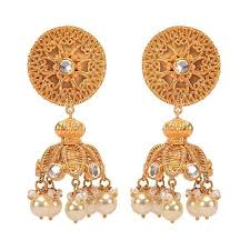 jhumka earrings gold wirework gold plated temple jhumka earrings by missori in