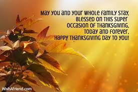 may you and your whole family thanksgiving wish
