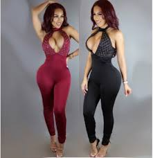 bodycon jumpsuit fitted rhinestone decorated bodycon jumpsuit romper