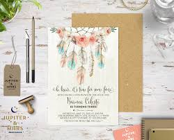 Baby Welcome Invitation Cards Templates Boho Chic Dream Catcher Be Brave Little One Birthday Party Pow Wow