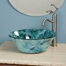 Glass Vessel Sinks Beautiful Glass Vessel Sink With Blue Pattern Glass Vessel Sinks