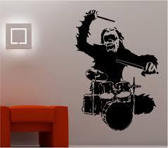 gorilla drumming drums wall art sticker vinyl lounge music bedroom