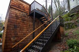 outdoor handrails for steps wooden exterior stairs with metal