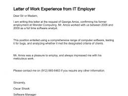 letter of work experience