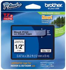 how to install brother p touch tape brother tze 131 1 2 in black on clear p touch tape 12mm tz 131