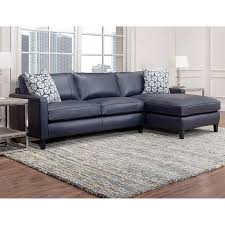 Dark Blue Loveseat Griffith Top Grain Leather Sectional Navy Blue