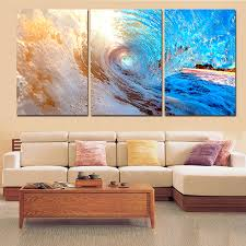 3 plane abstract sea wave modern home decor wall art canvas blue