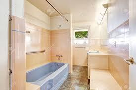 soft ivory pink antique bathroom with light blue bath tub unique