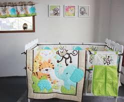 Elephant Nursery Bedding Sets 8 Pieces Baby Bedding Set 3d Elephants Monkeys Tigers Baby Crib